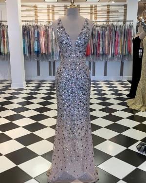 Elegant Multi-Color V-neck Beading Mermaid Prom Dress PM1859