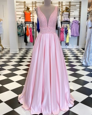 Pink Deep V-neck Beading Bodice Satin Pleated Prom Dress PM1861