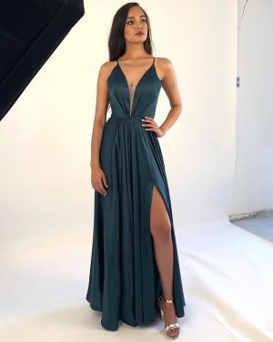 Ruched Deep V-neck Dark Green Satin Prom Dress with Side Slit PM1863