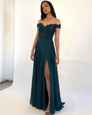 Beading Bodice Off the Shoulder Teal Satin Prom Dress PM1864
