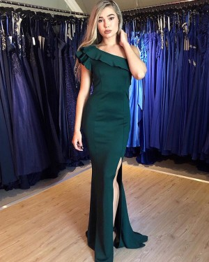 Simple Green One Shoulder Satin Prom Dress with Side Slit PM1867