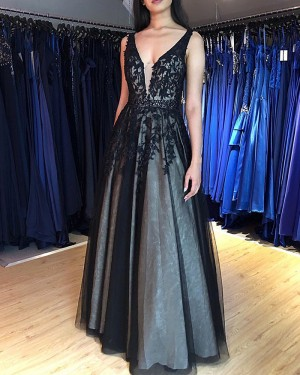 Lace Appliqued V-neck Black Prom Dress PM1869