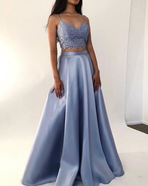Light Blue Two Piece Square Neck Satin Prom Dress PM1870
