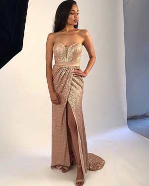 Gold Sequin Sweetheart Ruched Prom Dress with Side Slit PM1872