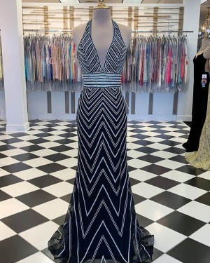 Wave Sequin Style Halter Navy Blue Mermaid Prom Dress PM1875