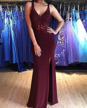 Lace Appliqued Bodice V-neck Burgundy Mermaid Prom Dress with Side Slit PM1881