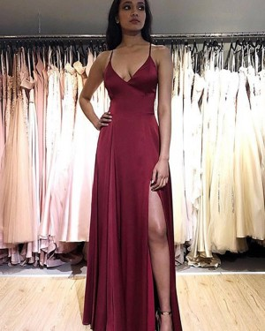 Simple Burgundy Spaghetti Straps Satin Prom Dress with Side Slit PM1882
