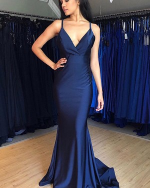 Simple Navy Blue Spaghetti Straps Satin Prom Dress PM1883