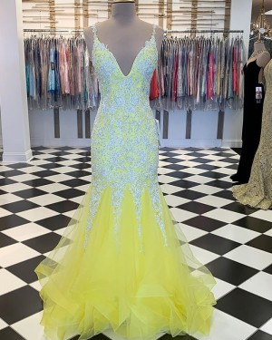 Beading Appliqued V-neck Yellow Mermaid Ruffled Prom Dress PM1887