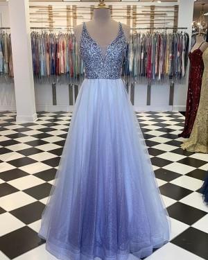 Beading Bodice V-neck Prom Dress with Starry Sky Skirt PM1888