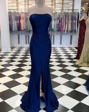 Simple Ruched Strapless Navy Blue Satin Mermaid Prom Dress with Middle Slit PM1890