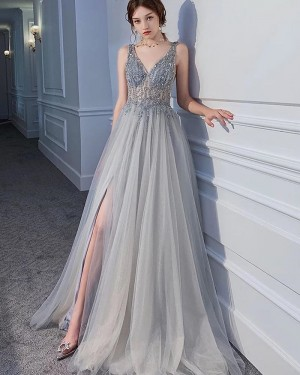 Beading Bodice V-neck Grey Pleated Evening Dress with Side Slit PM1901