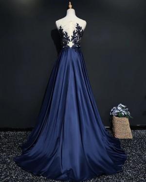 Beading Bodice Sheer Neck Navy Blue Satin Evening Dress PM1902