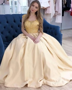 Yellow Scoop Neck Beading Bodice Prom Dress with Pockets PM1903