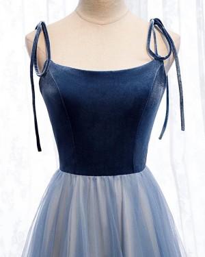 Navy Blue Spaghetti Straps Velvet Bodice Long Formal Dress PM1904