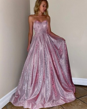 Pink Sparkle Sweetheart Metal Long Prom Dress with Pockets PM1905