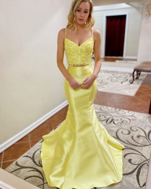 Yellow Lace Bodice Two Piece Mermaid Prom Dress PM1907
