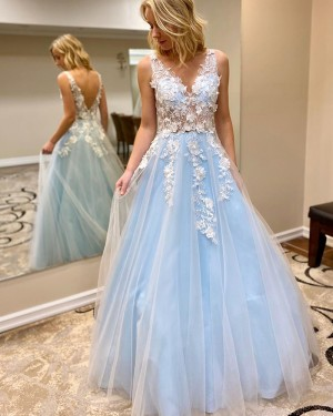 Lace Applique Tulle V-neck Cyan Prom Dress PM1908