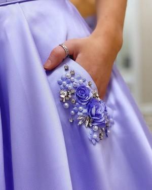 Light Purple Satin Spaghetti Straps Prom Dress with Beading Pockets PM1912