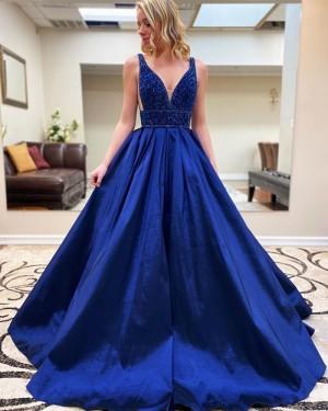 Royal Blue Beading Bodice Satin V-neck Prom Dress with Pockets PM1915