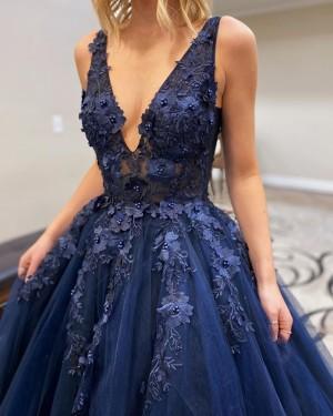 Navy Blue Beading Applique Tulle V-neck Prom Dress PM1917