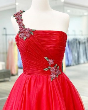 Beading Ruched Tulle Red One Shoulder Prom Dress PM1926