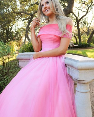 Ruched Pink Tulle Off the Shoulder Prom Dress PM1929