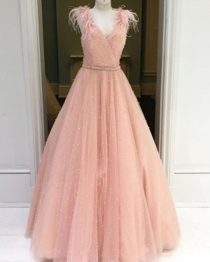 Beading Sparkle Tulle Dusty Pink V-neck Prom Dress with Feather Sleeves PM1930