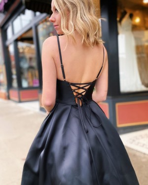 Black Satin Beading Spaghetti Straps Prom Dress with Pockets PM1932