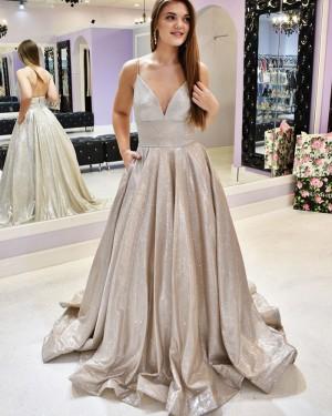 Sparkle Metal Spaghetti Straps Prom Dress with Pockets PM1934