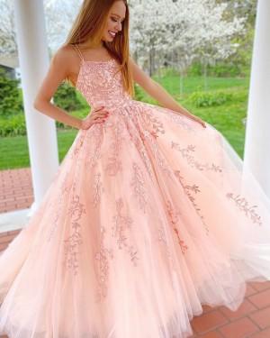 Lace Applique Tulle Pink Spaghetti Straps Prom Dress PM1942
