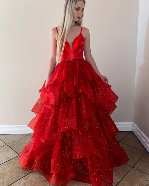 Red Spaghetti Straps Formal Dress with Sparkle Layered Skirt PM1943