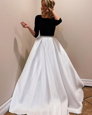 White & Black Satin Scoop Neckline Prom Dress with 3/4 Length Sleeves PM1945