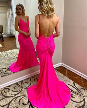 Spaghetti Straps Satin Mermaid Simple Prom Dress with Open Back PM1946