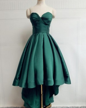Sweetheart High Low Green Satin Simple Prom Dress PM1947