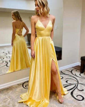 Spaghetti Straps Yellow Satin Slit Simple Prom Dress with Pockets PM1950