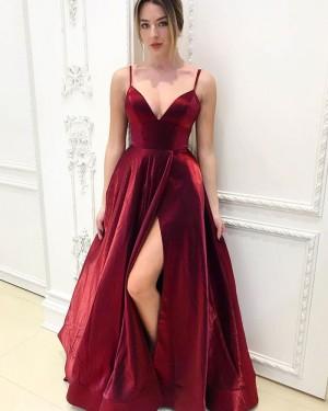 Spaghetti Straps Velvet Burgundy Simple Prom Dress with Side Slit PM1953