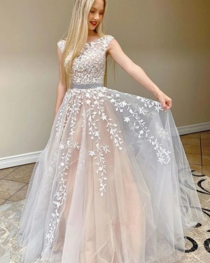 Lace Applique Ivory Jewel Prom Dress with Beading Belt PM1955