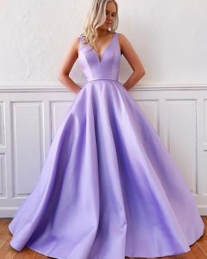 Lavender V-neck Satin Simple Prom Dress with Pockets PM1956