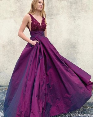 Lace Bodice Purple V-neck Prom Dress with Pockets PM1957