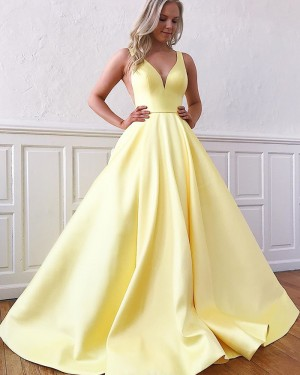 V-neck Satin Yellow Simple Prom Dress with Pockets PM1958