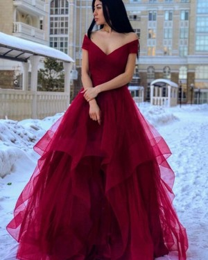 Off the Shoulder Burgundy Ruffled Simple Prom Dress PM1962