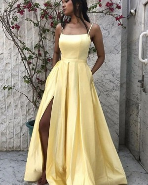 Spaghetti Straps Yellow Satin Slit Simple Prom Dress with Pockets PM1964