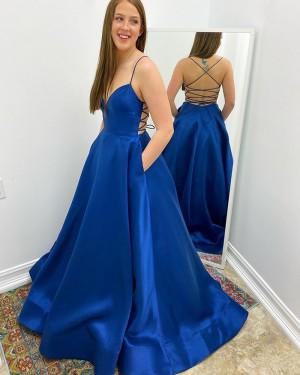Blue Spaghetti Straps Satin Simple Prom Dress with Pockets PM1965