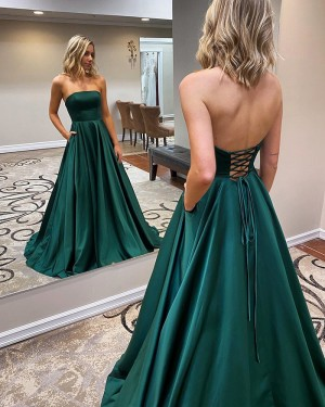 Strapless Satin Green Simple Prom Dress with Pockets PM1967