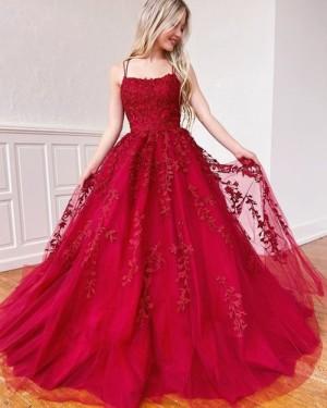 Lace Applique Red Spaghetti Straps Prom Dress PM1968