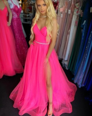 Ruched Pink Tulle Spaghetti Straps Prom Dress with Slit PM1970
