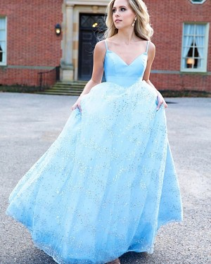 Light Blue Spaghetti Straps Prom Dress with Sequin Skirt PM1972