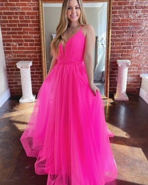 Ruched Tulle Spaghetti Straps Blush Pink Prom Dress PM1973