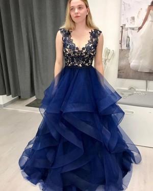 Lace Bodice Navy Blue V-neck Ruffle Prom Dress PM1974